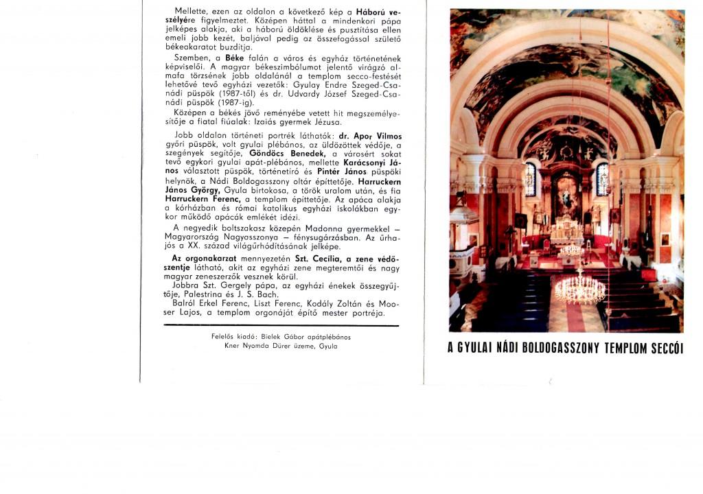 A gyulai templom ismertetője utolsó és első oldal